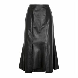 Alexander McQueen Black Leather Midi Skirt