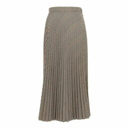 MM6 By Maison Margiela Checked Pleated Twill Midi Skirt