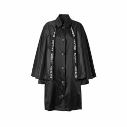Burberry Cape Detail Nylon Twill Belted Coat