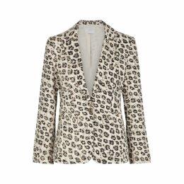 Joie Linen Leopard Print Blazer