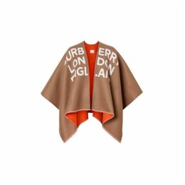 Burberry Logo Detail Wool Jacquard Cape