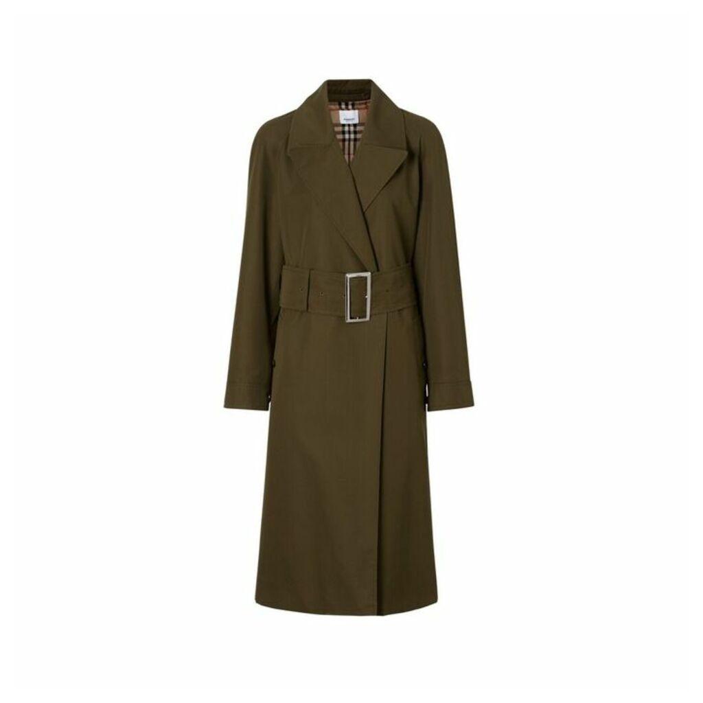 Burberry Side-slit Cotton Gabardine Belted Coat