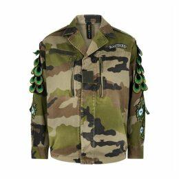 RAGYARD Camouflage Feather-appliquéd Cotton Jacket