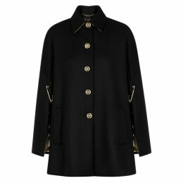 Versace Black Cape-effect Wool Coat