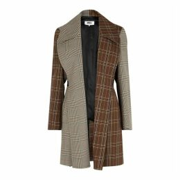 MM6 By Maison Margiela Brown Panelled Checked Coat