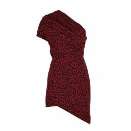 Saint Laurent Leopard-print One-shoulder Dress