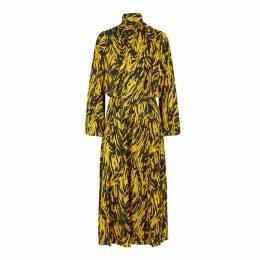 No.21 Yellow Zebra-print Midi Dress