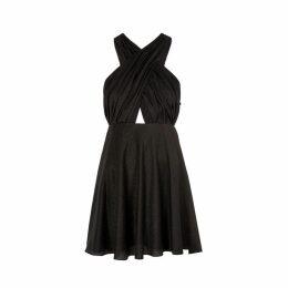 Saint Laurent Black Halter-neck Lamé Mini Dress