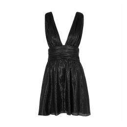 Saint Laurent Black Lamé Mini Dress