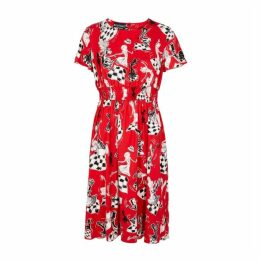 Boutique Moschino Red Printed Crepe Dress
