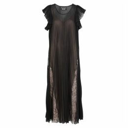 Boutique Moschino Black Pleated Chiffon And Lace Dress