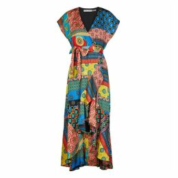 Alice + Olivia Dani Printed Satin Midi Dress