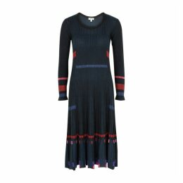 Kenzo Panelled Pleated Ribbed Dress
