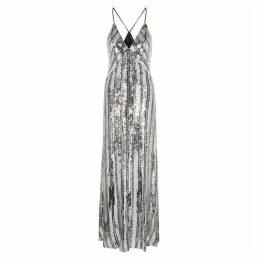 Galvan Stardust Silver Sequin Gown