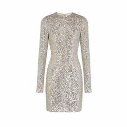 Galvan Silver Sequin Mini Dress