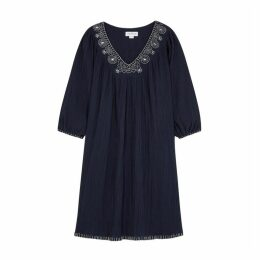 Velvet By Graham & Spencer Trista Navy Embroidered Dress