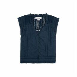Velvet By Graham & Spencer Skye Navy Lace-trimmed Cotton Top