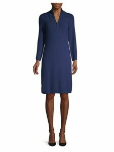 Textured Cotton Blend Half-Zip Dress