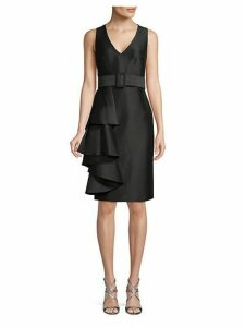 Belted Ruffle Sheath Dress
