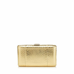 CLEMMIE Gold Metallic Elaphe Clutch Bag
