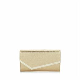 EMMIE Gold Glitter Leather Clutch Bag