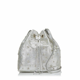JUNO/S Champagne Glitter Leather Drawstring Bag with Star Detailing