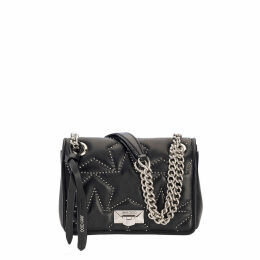 HELIA SHOULDER/S Black Nappa Shoulder Bag with Studs and Silver Chain Strap