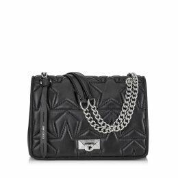 HELIA SHOULDER BAG Black Nappa and Silver Shoulder Bag with Chain Strap