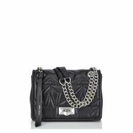 HELIA SHOULDER BAG/S Black and Silver Star Matelassé Nappa Shoulder Bag with Chain Strap