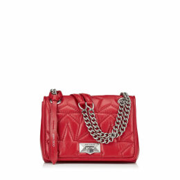 HELIA SHOULDER BAG/S Red Star Matelassé Nappa Shoulder Bag with Silver Chain Strap