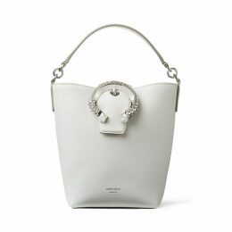 MADELINE BUCKET Latte Calf Leather Bucket Bag with Crystal Buckle