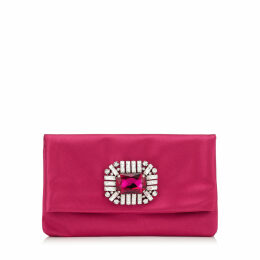 TITANIA Hot Pink Satin Clutch Bag with Jewelled Centre Piece