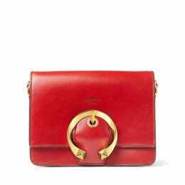 MADELINE SHOULDER Red Calf Leather Shoulder Bag with Metal Buckle