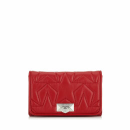 HELIA CLUTCH Red Star Matelassé Nappa Leather Clutch with Chain Strap