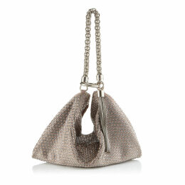 CALLIE Ballet Pink Suede Clutch Bag with Diamond Motif and Crystal Hotfix