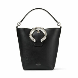 MADELINE BUCKET Black Goat Calf Leather Bucket Bag with Crystal Buckle