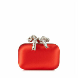 CLOUD Red Satin Clutch Bag with Crystal Bow Clasp
