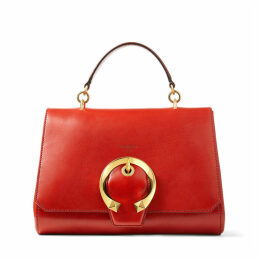 MADELINE TOP HANDLE Red Calf Leather Top Handle Bag with Metal Buckle
