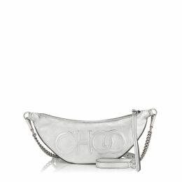 FAYE Silver Metallic Nappa Leather Belt Bag with Embossed Choo Logo