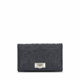 HELIA CLUTCH Navy Star Matelassé Denim Clutch with Chain Strap