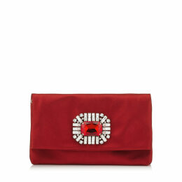 TITANIA Red Satin Clutch Bag with Jewelled Centre Piece