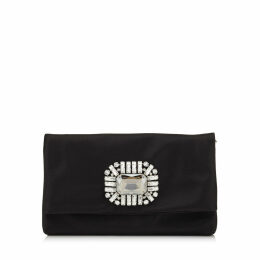 TITANIA Black Satin Clutch Bag with Jewelled Centre Piece