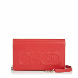 SONIA Red Nappa Leather Day Bag with Chain Strap