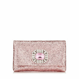 TITANIA Candyfloss Galactica Glitter Fabric Clutch Bag with Jewelled Centre Piece