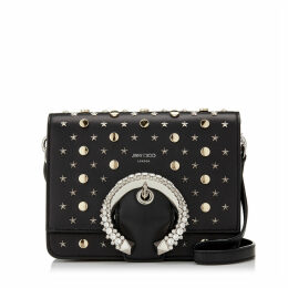 MADELINE SHOULDER BAG Black Calf Leather Shoulder Bag with Crystal Buckle