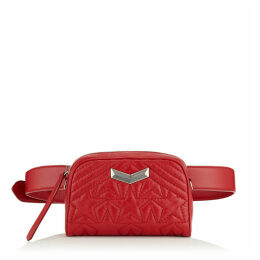 HELIA CAMERA Red Star Matelassé Nappa Leather Camera Bag with Embossed Stars