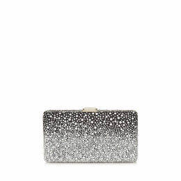 CLEMMIE Black Suede Clutch Bag with Silver Degrade Crystal Hotfix