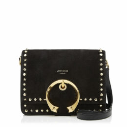 MADELINE SHOULDER Black Suede Shoulder Bag with Metal Buckle, Stars and Round Stud Trim