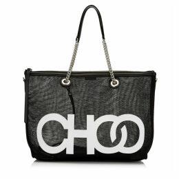 ALLEGRA Black Mesh Shoulder Bag with White Choo Logo