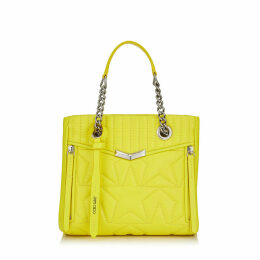 HELIA SHOPPER/S Small Fluroscent Yellow Star Matelassé Nappa Leather Shopper Bag